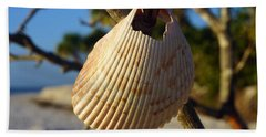 Cockelshell On Tree Branch Beach Towel