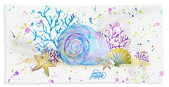 Seashells And Coral Watercolor Beach Towel