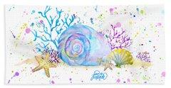 Seashells And Coral Watercolor Beach Sheet