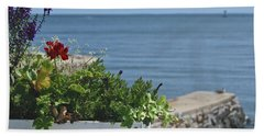 Seaside Flower Box Beach Towel