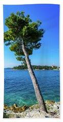 Seaside Leaning Tree In Rovinj, Croatia Beach Towel