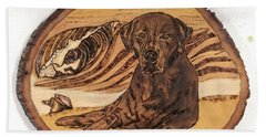 Beach Towel featuring the pyrography Seaside Sam by Denise Tomasura
