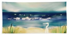 Seaside With Egret Beach Sheet by Frank Bright