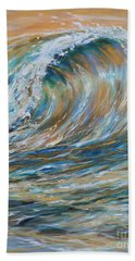 Beach Towel featuring the painting Seaspray Gold by Linda Olsen