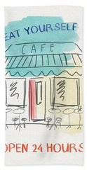 Seat Yourself Cafe- Art By Linda Woods Beach Towel
