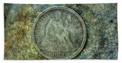 Beach Towel featuring the digital art Seated Libery Dime Coin Obverse by Randy Steele