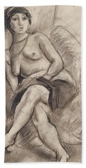 Seated Nude Model Beach Towel