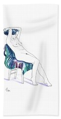 Seated Woman Beach Sheet