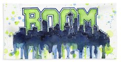 Seattle 12th Man Legion Of Boom Watercolor Beach Towel