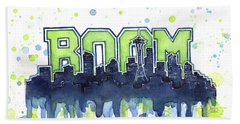 Seattle 12th Man Legion Of Boom Watercolor Beach Sheet by Olga Shvartsur