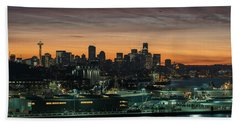 Seattle And Pier 90 Sunrise Beach Towel by Mike Reid