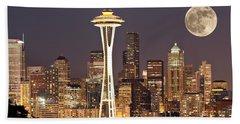 Seattle Full Moon Beach Sheet by Paul Fell