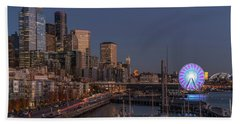 Seattle Autumn Nights Beach Towel
