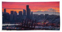 Seattle Cityscape And Port Sunrise Fire Beach Towel