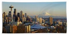 Seattle Cityscape Beach Towel