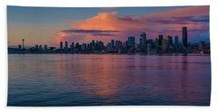 Seattle Dusk Skyline Details Reflection Beach Towel