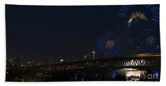 Seattle Fireworks Beach Towel