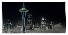 Seattle Foggy Night Lights In Bw Beach Towel