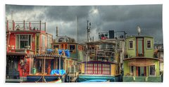 Seattle Houseboats Fine Art Photograph Beach Towel