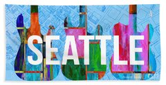 Seattle Music Scene Beach Towel by Edward Fielding