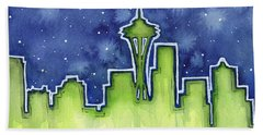 Seattle Night Sky Watercolor Beach Towel