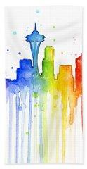 Seattle Rainbow Watercolor Beach Towel