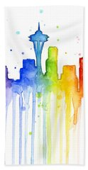 Seattle Rainbow Watercolor Beach Towel by Olga Shvartsur