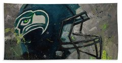 Beach Towel featuring the painting Seattle Seahawks Football Helmet Wall Art by Gray Artus