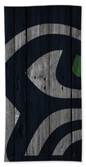 Seattle Seahawks Wood Fence Beach Towel