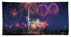 Seattle Skyline And Fireworks Beach Towel
