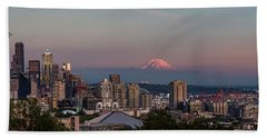 Beach Towel featuring the photograph Seattle Skyline And Mt. Rainier Panoramic Hd by Adam Romanowicz