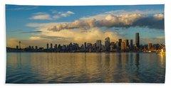 Seattle Skyline Dusk Dramatic Clouds Reflection Beach Towel