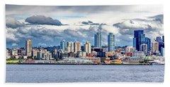 Seattle Skyline Hdr Beach Towel