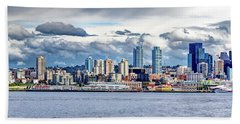 Beach Towel featuring the photograph Seattle Skyline Hdr by Rob Green
