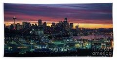Seattle Skyline Imminent Sunrise Beach Towel