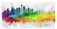 Seattle Skyline Mmr-uswase05 Beach Towel by Aged Pixel