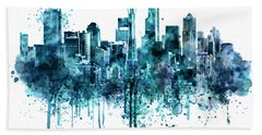 Seattle Skyline Monochrome Watercolor Beach Towel