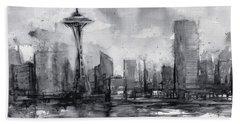 Seattle Skyline Painting Watercolor  Beach Towel