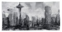 Seattle Skyline Painting Watercolor  Beach Towel by Olga Shvartsur