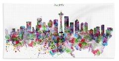Seattle Skyline Silhouette Beach Towel