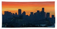 Seattle Skyline Skies On Fire Beach Towel by Mike Reid