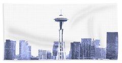 Seattle Skyline Splash And Dash In Blue Beach Towel