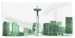 Seattle Skyline Splash And Dash In Green Beach Towel