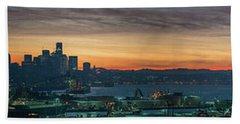 Seattle Skyline Sunrise Pano With A Lenticular Cloud On Rainier Beach Towel by Mike Reid