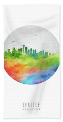 Seattle Skyline Uswase20 Beach Sheet by Aged Pixel