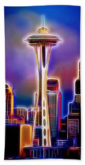 Aaron Berg Photography Beach Towel featuring the photograph Seattle Space Needle 1 by Aaron Berg
