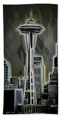 Aaron Berg Photography Beach Towel featuring the photograph Seattle Space Needle 2 by Aaron Berg