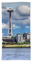 Beach Towel featuring the photograph Seattle Space Needle Hdr by Rob Green