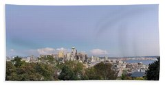 Seattle Washington City Skyline And Puget Sound View Beach Towel