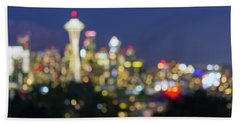 Seattle Washington City Skyline At Dusk Out Of Focus Bokeh Beach Towel